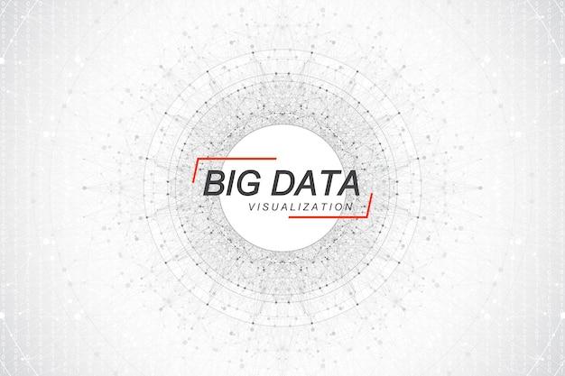 Big-data-visualisierung. big-data-algorithmen für maschinelles lernen. visualisierung von datenarrays. visuelle informationskomplexität. futuristische analyse von infografiken informationen. vektor-illustration.