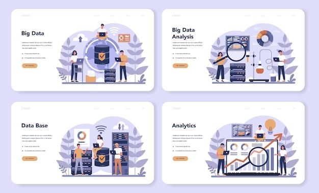 Big data web-banner oder landingpage-set. moderne computertechnologie. analyse digitaler informationen aus dem internet und bessere geschäftsentscheidungen.