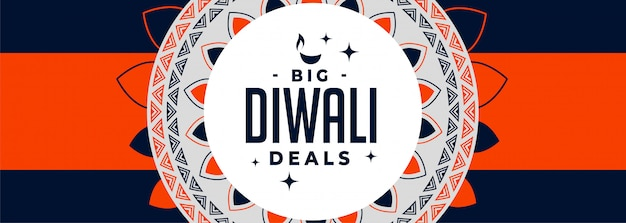 Big diwali angebote banner in orange und blau thema