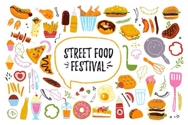 Big fast food festival set isoliert