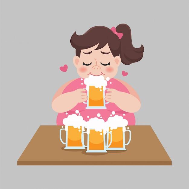 Big fat frauen lieben es, einen becher bier zu trinken