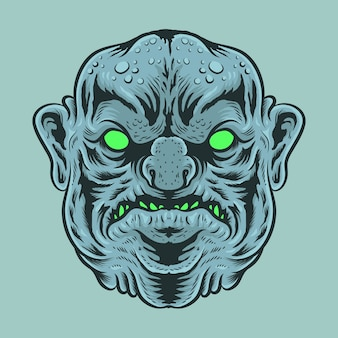 Big fat head of monster illustration