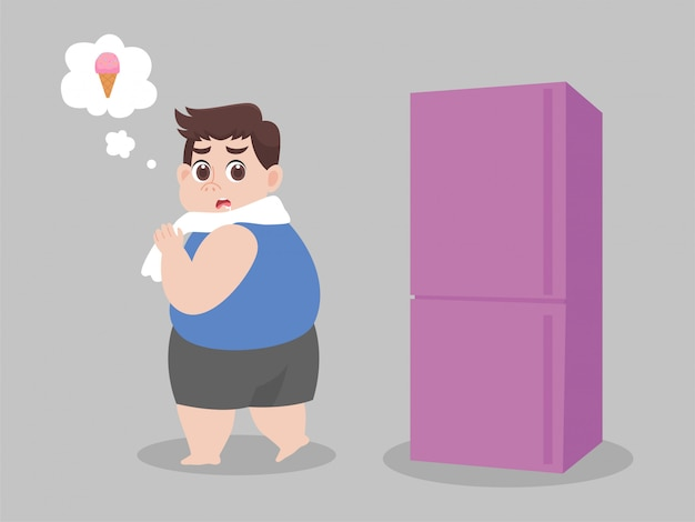 Big fat man hungrig eis versuchen, nicht zu essen, blick auf kühlschrank