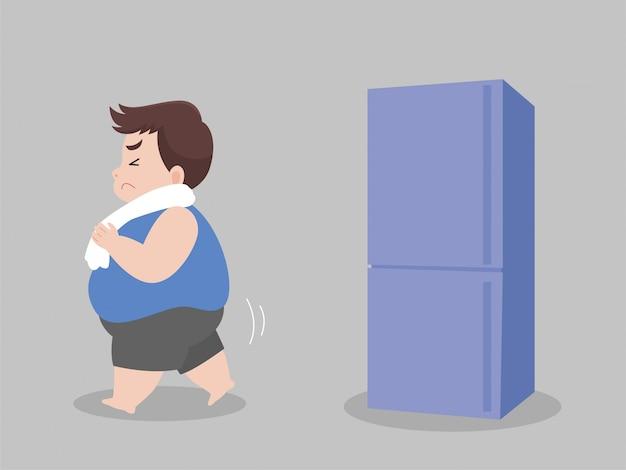 Big fat man hungrig versuchen, nichts zu essen und weg von kühlschrank gehen