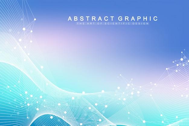 Big genomic data visualization. dna-helix, dna-strang, dna-test. molekül oder atom, neuronen.