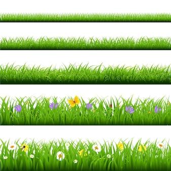 Big grass set mit schmetterling und blumen mit gradient mesh illustration