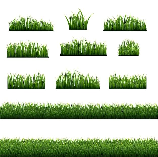 Big green grass frame set isoliert