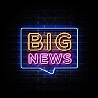 Big news leuchtreklame stil text