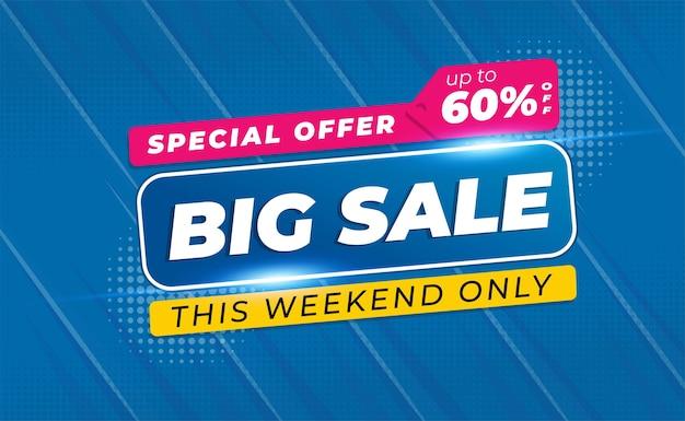 Big sale banner oder poster mit blauer farbe