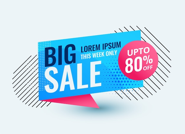 Big sale banner, origami chat bubble style vorlage