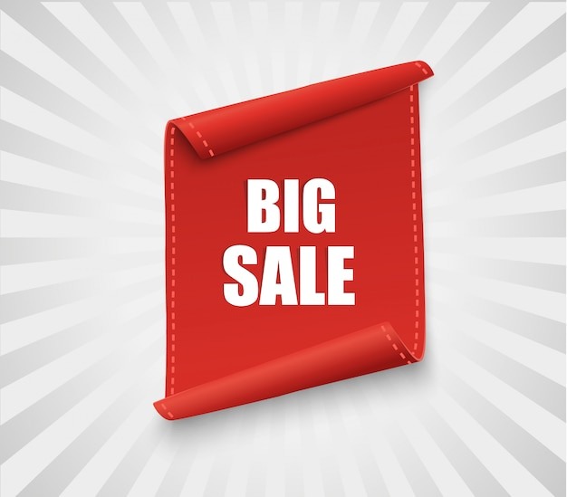 Big sale banner. rotes gebogenes band auf weißem hintergrund. illustration