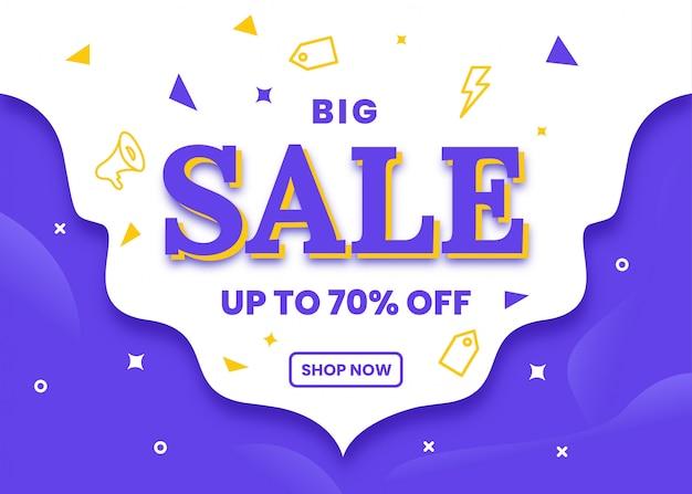 Big sale banner vorlage in lila farben