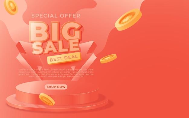 Big sale-banner, werbebanner-vorlage für das sonderangebot an diesem wochenende, vektorillustration