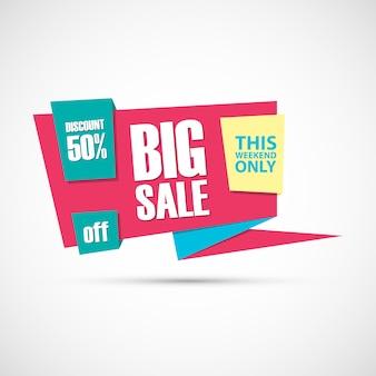 Big sale, dieses wochenende sonderangebot banner, 50% rabatt.