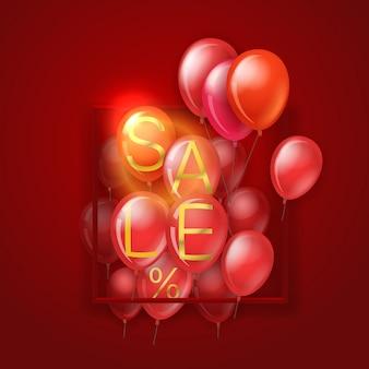 Big sale-konzept. fliegende rote ballone auf rot