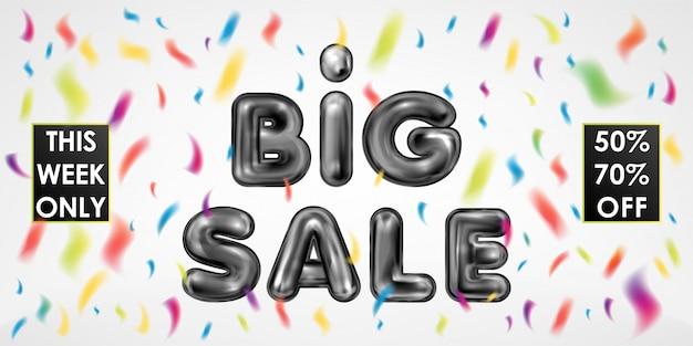 Big sale schwarzer latex schriftzug mit farbigem konfetti