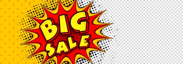 Big sale social media banner in pop-art-stil.