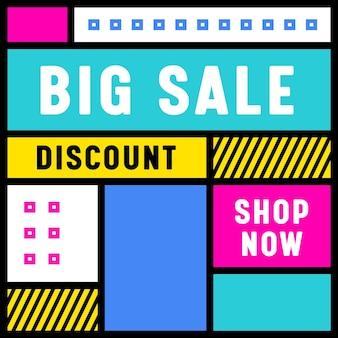 Big sale trendy banner mit abstrakten geometrischen formen auf bunter oberfläche im retro-stil.