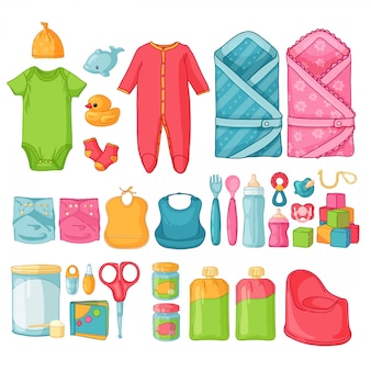 Big set baby zeug. reihe von dingen für die kindheit. isolierte symbole von babyartikeln für neugeborene. kleidung, spielzeug, hygienezubehör, säuglingsnahrung.