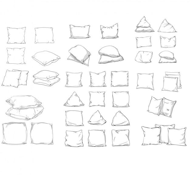 Big set bettkissen. skizze illustration