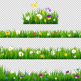 Big set flowers borders farbverlaufsnetz, illustration