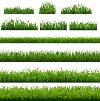 Big set green grass border Premium Vektoren