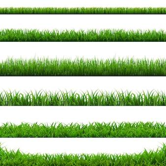 Big set green grass borders illustration