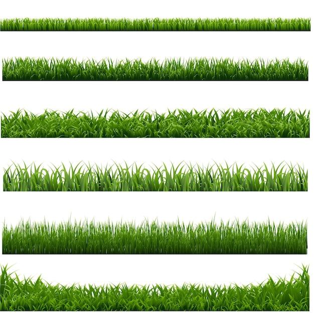 Big set green grass borders