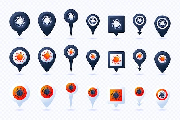 Big set pin mit coronavirus in sieben stilen und drei farben. coronavirus 2019-ncov epidemisches infografik-element. auswirkungen des corona-virus covid-19.