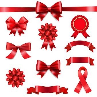 Big set ribbon bow weißer hintergrund
