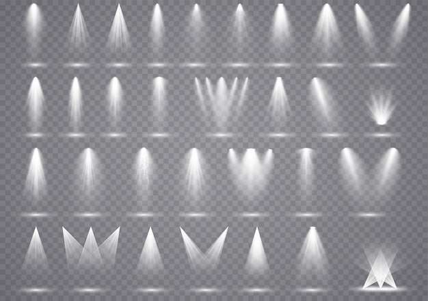 Big set spotlights beleuchtung, transparente effekte mit spotbeleuchtung.