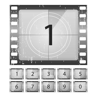 Big setzte einen klassischen film-countdown auf die nummern eins, zwei, drei, vier, fünf, sechs, sieben, acht und neun. old film movie timer zählen. filme countdown-vektoren eingestellt.