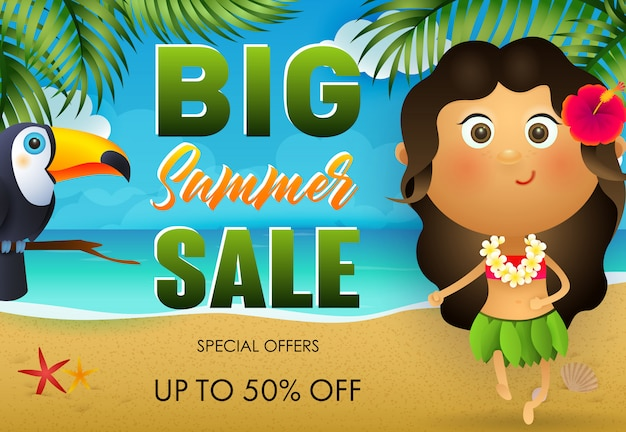 Big summer sale flyer design. tukan, hawaiianisches mädchen