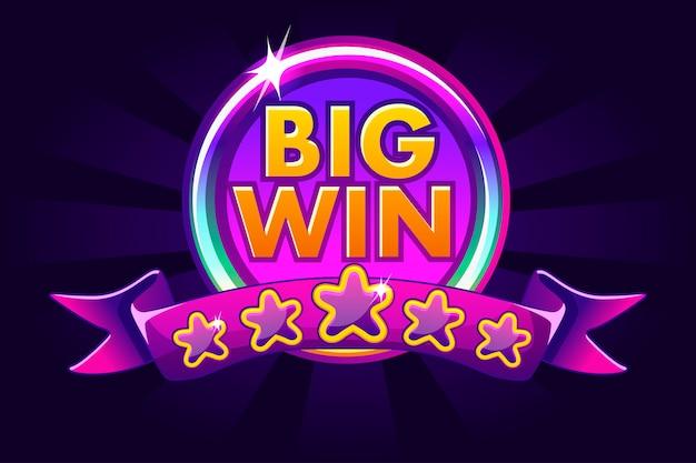Big win banner hintergrund für online casino, poker, roulette, spielautomaten, kartenspiele.