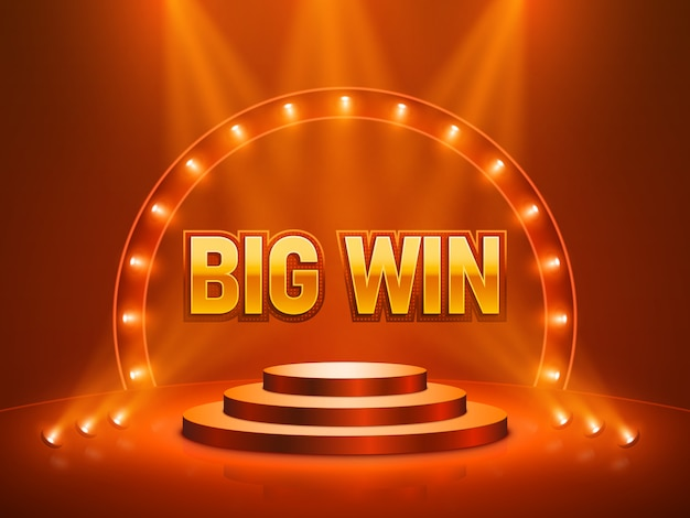 Big win casino banner für text. vektorillustration.