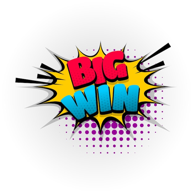 Big win gewinner sound comic-texteffekte vorlage comics sprechblase halbton pop-art-stil