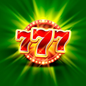 Big win slots 777 banner casino auf dem grünen hintergrund. vektor-illustration