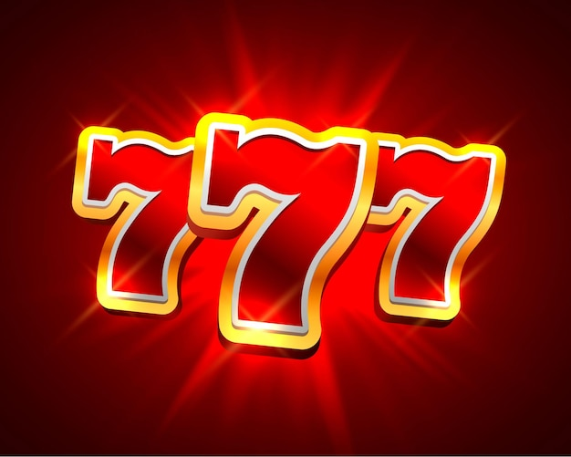Big win slots 777 banner casino auf rotem hintergrund. vektor-illustration