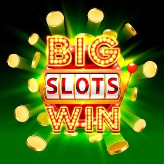Big win slots 777 banner casino, fliegenmünzen hintergrund. vektor-illustration