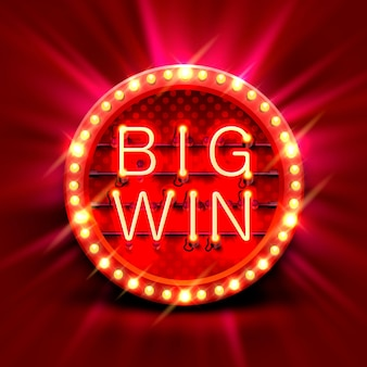 Big win slots banner casino auf rotem hintergrund. vektor-illustration