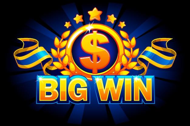 Big win-spielkonzept. casino hintergrund isoliert. dollarzeichen und band.