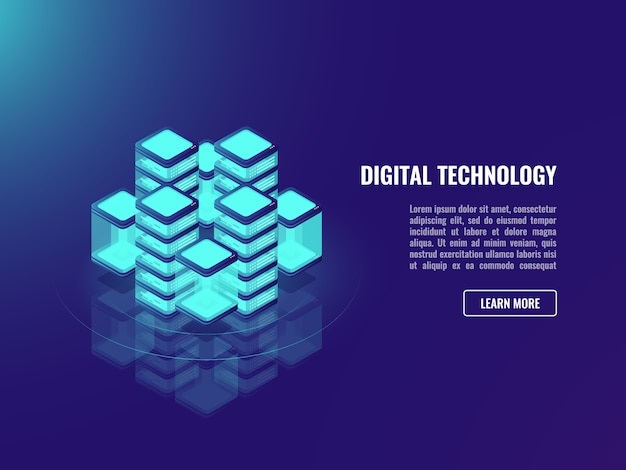 Bigdata-verarbeitungskonzept, wolkenspeicher, data warehousing, datenbankikone