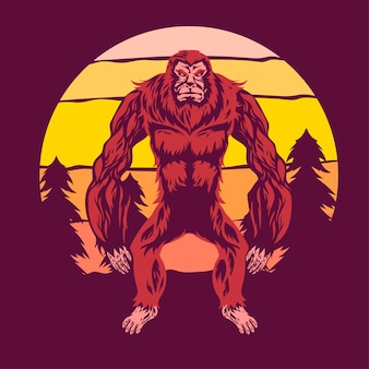 Bigfoot geht zwischen kiefern und sonnenuntergang