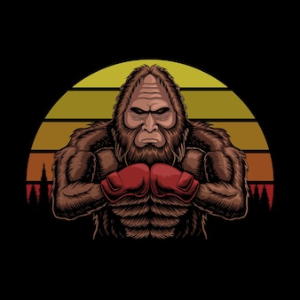 Bigfoot trägt boxhandschuhe sonnenuntergang retro