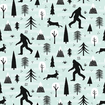 Bigfoot und jackalope im waldmuster