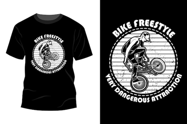 Bike freestyle sehr gefährliche attraktion t-shirt mockup design silhouette