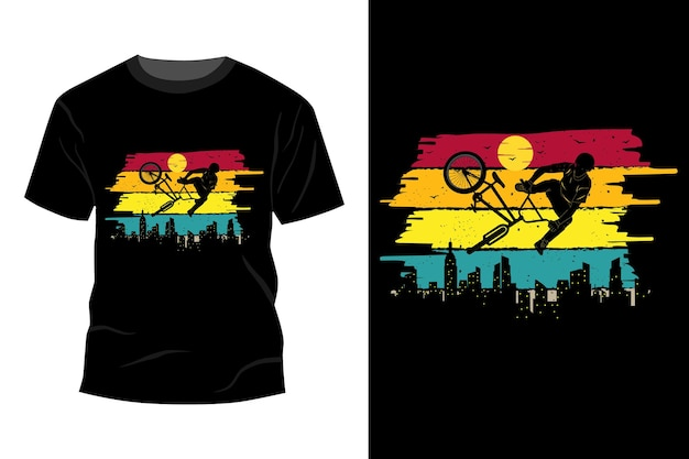 Bike freestyle silhouette t-shirt design vintage retro