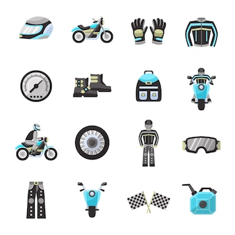 Bike rider flat icons set