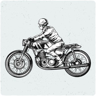 Biker auf dem motorrad