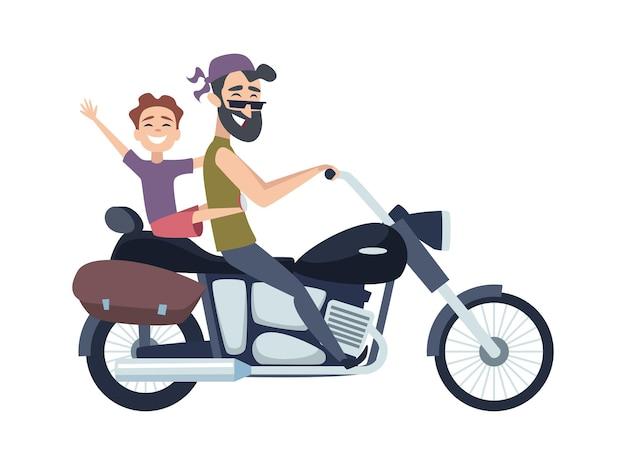 Biker auf motorrad. vater fährt mit seinem sohn einen roller